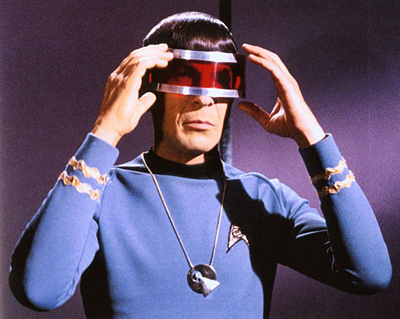Spock wearing shades
