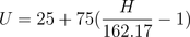 UMM  value from Index U = 25+75(\frac{H}{162.17} -1)