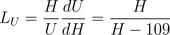 UMM leverage factor: L_U = \frac{H}{U}\frac{dU}{dH} = \frac{H}{H-109}