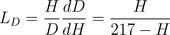 Leverage factor for DMM: L_D = \frac{H}{D}\frac{dD}{dH} = \frac{H}{217 -H}