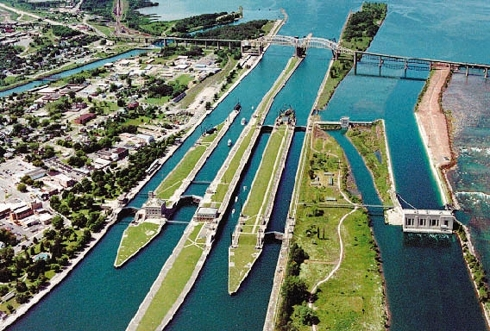 The Soo Locks in Sault St. Marie, Michigan