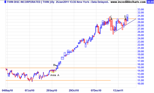 TWIN daily equivolume chart