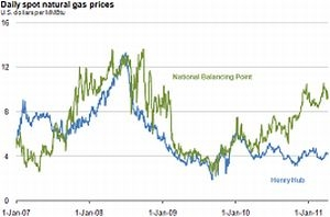 Daily Spot Natural Gas Price Divergence