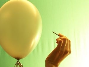 Balloon being punctured