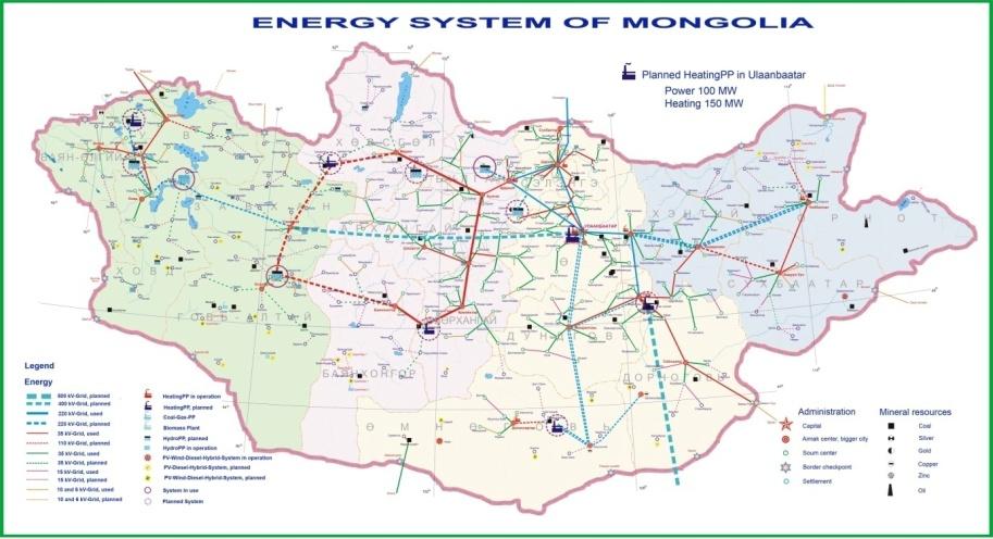 1 из 1. Схема развития энергосистемы Монголии.