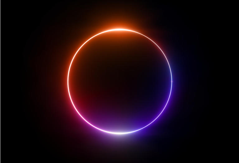 3d render, neon light, round frame, blank space for text, ultraviolet spectrum, ring symbol, halo, isolated on blank background