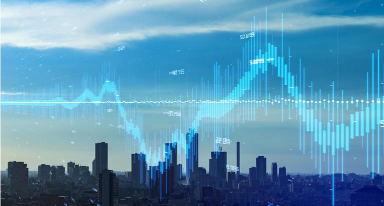 Modern city and financial technology concept. Fintech.