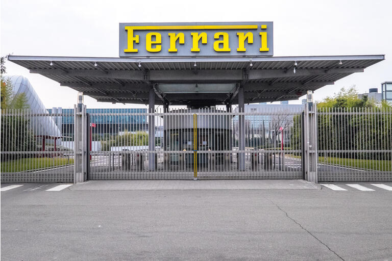 View of the entrance to the Ferrari luxury sports car factory in Maranello