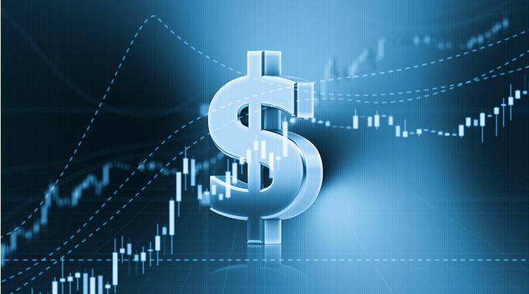 American Dollar Sign Sitting in Front of Bar Graph - Stock Market and Finance Concept