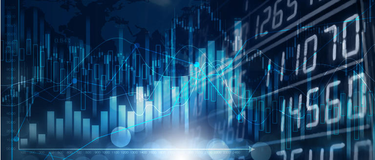Background media blue image with stock market investment trading, candle stick graph chart, trend of graph, Bullish point, soft and blur, illustration.