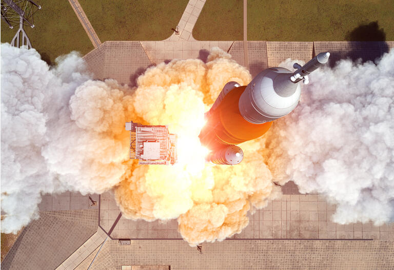 Launch Of Heavy Carrier Rocket Space Launch System . Aerial View.