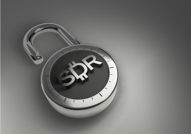 The SDR Special Drawing Rights from the IMF International Monetary Fund combination lock as 3d rendering.