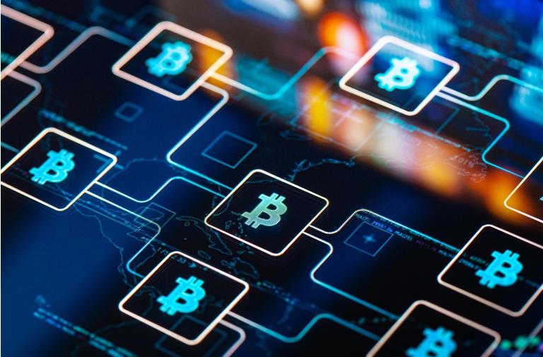 Bitcoin network concept on digital Screen