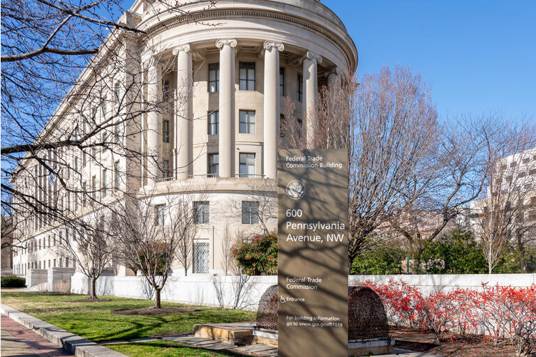 Federal Trade Commission FTC building and sign in Washington DC. USA.