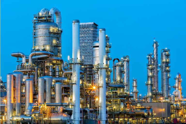Petrochemical Plant Illuminated at Dusk