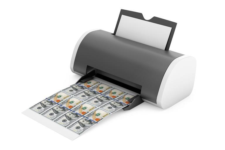 Desktop Home Printer Printed Money. 3d Rendering