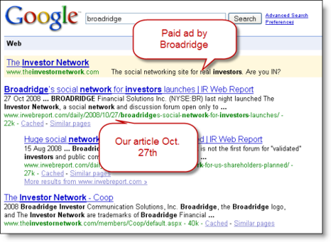 Screenshot of Google results page showing Broadridge ad for the investor network