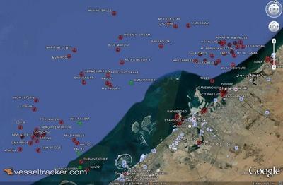 Idle ships anchored off Dubai