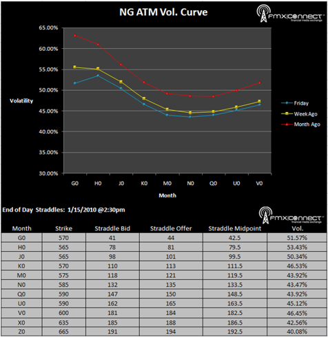 Natural Gas ATM Volatility Curve: