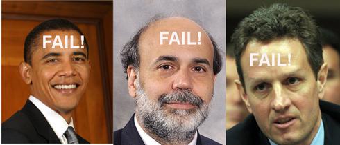 Obama, Bernanke and Geithner failed policies.