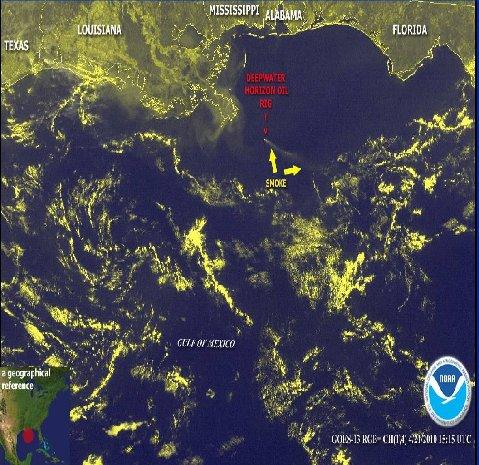 Location of Horizon oil rig in the Gulf of Mexico - NOAA