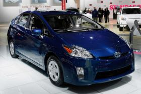A third-generation Toyota Prius is shown at the North American International Auto Show in Detroit. U.S. car buyers bought a record number of hybrid and electric cars in March, as new models went on sale and gas prices neared $4 per gallon. Paul Sancya
