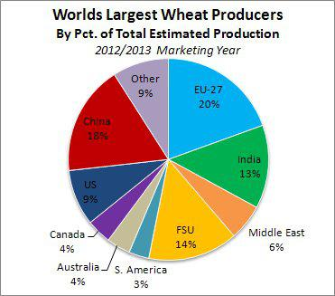 World Largest Wheat Producers by Pct. of Total Estimated Productions 2012/13