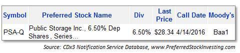 PSA-Q Public Storage preferred stock