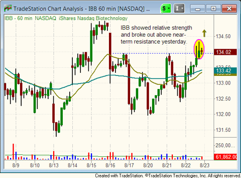 $IBB hourly chart pattern