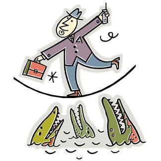 alligators,animals,briefcases,business,dangers,men,metaphors,occupations,hazards,people,pitfalls,tightropes,risks