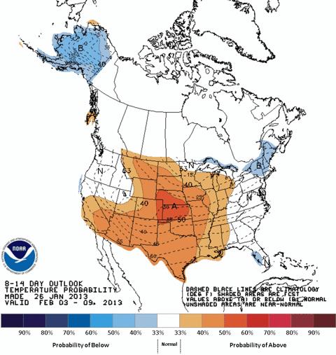 NOAA 8-14 Day Temperature Outlook