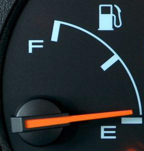 Picture of gas guage on empty