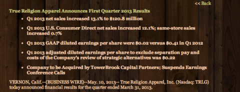 TRLG Q1 Earnings