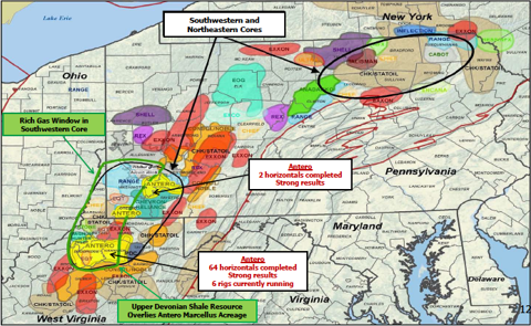 Antero Map, Gastar is in the Southwestern Core in the Rich Gas Window