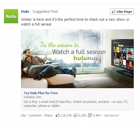 Image result for hulu facebook ad