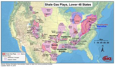 Shale Gas Formations in the Continental US
