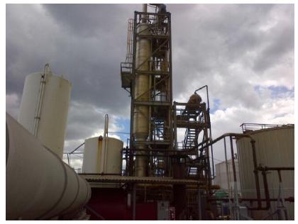 Glycol distillation tower