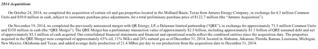 BreitBurn 2014 Acquisition of Antares Energy