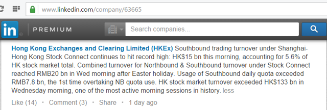 LinkedIn post by HKEX announcing a record high in southbound trading: HK$15bn (about US$2bn) or 5.6% of HKEX volume. Source: LinkedIn, HKEX page
