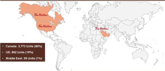 as with burger king 3g should be able to expand tim hortons locations both in the us and abroad below is a map of tim hortons current locations