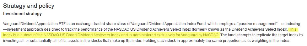 vanguard dividend appreciation etf fact sheet