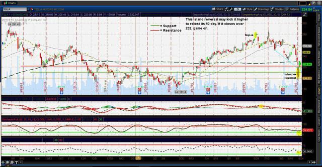 1 year chart of Tesla Motors 8/27/15