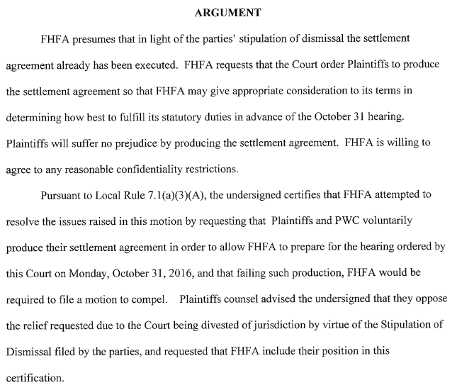 Fhfas Emergency Motion To Compel Production Of Gse Settlement