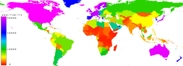 Purchasing Power Parity (NYSE:<a href='https://seekingalpha.com/symbol/PPP' title='Primero Mining Corp. New Ordinary Shares'>PPP</a>). Countries with a low purchasing power parity are marked in red, moderate is in green, high values in blue and very high in magenta.