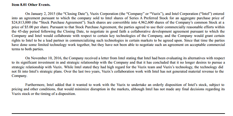 Closing The Book On Intel And Vuzix Vuzix Corp Nasdaqvuzi