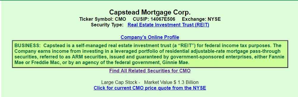 Capstead Mortgage A Semi Conservative Choice From The Perspective