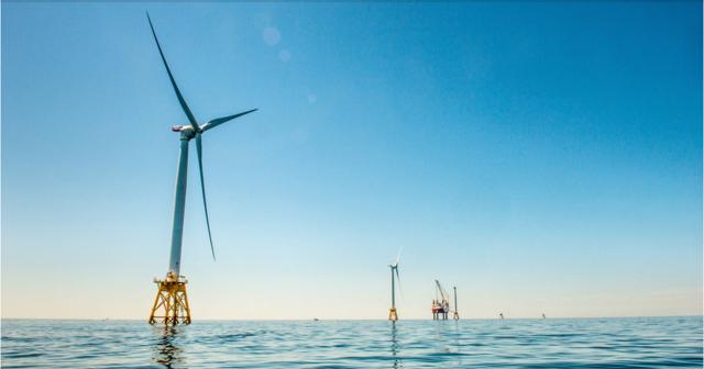 Photo of GE / Deepwater Wind Block Island wind farm, via Business Insider.