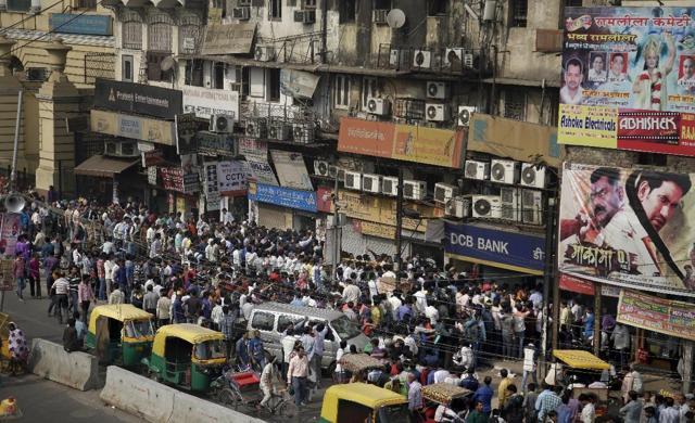 Huge Crowds Swarm Indian Banks