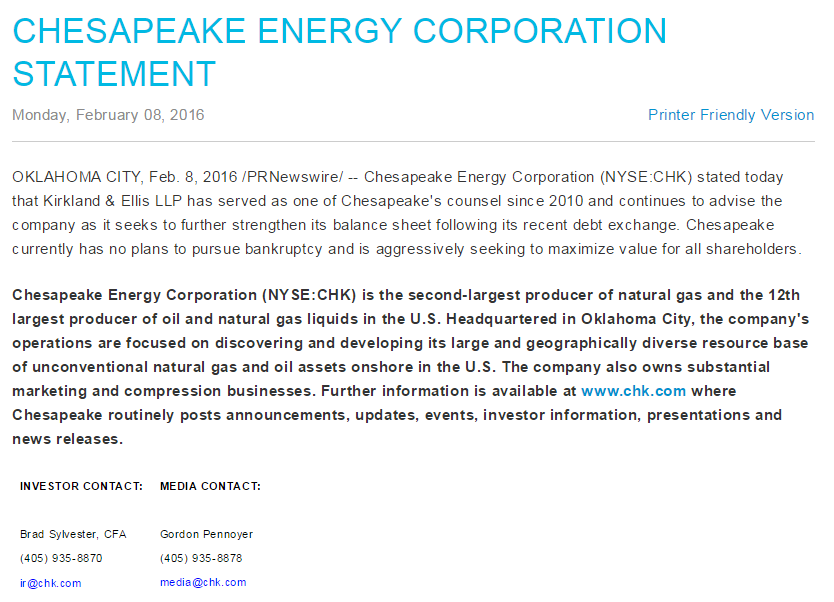 an overview of the chesapeake energy corporation in oklahoma Chesapeake energy corporation company research & investing information find executives and the latest company news.