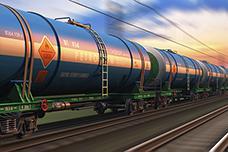 Freight train wtih petroleum tankcars